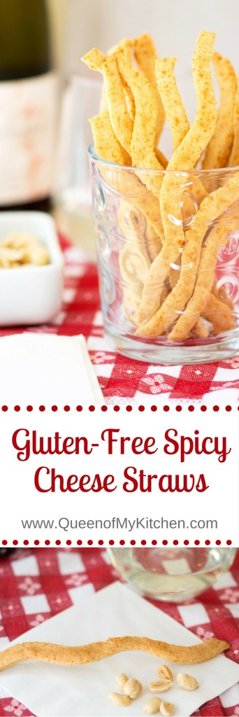 Gluten-Free Spicy Cheese Straws – A classic cocktail snack! These are clean tasting Parmesan cheese straws made with coconut oil instead of butter. Crispy and delicious, they go great with wine and mixed drinks. Perfect to set on the bar while entertaining or as an accompaniment to your favorite dip. | QueenofMyKitchen.com