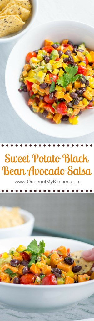 Sweet Potato Black Bean Avocado Salsa – sweet and spicy, healthy and delicious. Great with tortilla chips or on top of grilled fish, chicken, or pork. Makes a nice, simple side dish too. This is not your average salsa! | QueenofMyKitchen.com