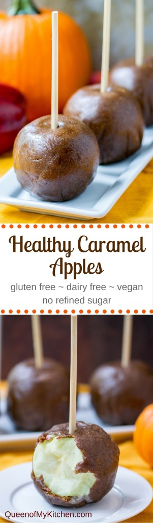 Healthy Caramel Apples – Dates, peanuts, and flaxseed combine to make a mock caramel coating for apples. Gluten-free, dairy free, and vegan with no refined sugar. | QueenofMyKitchen.com