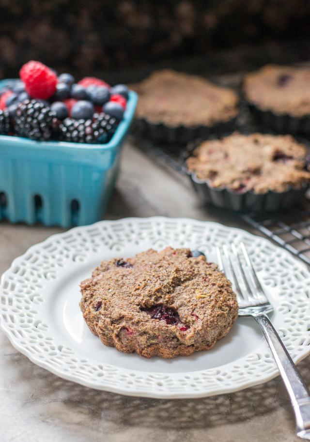 Mixed Berry Flax Cakes - A nutritious breakfast that doubles as dessert. 7 grams of protein and 1/3 of the RDA of fiber. Gluten-free, grain-free, dairy-free. | QueenofMyKitchen.com