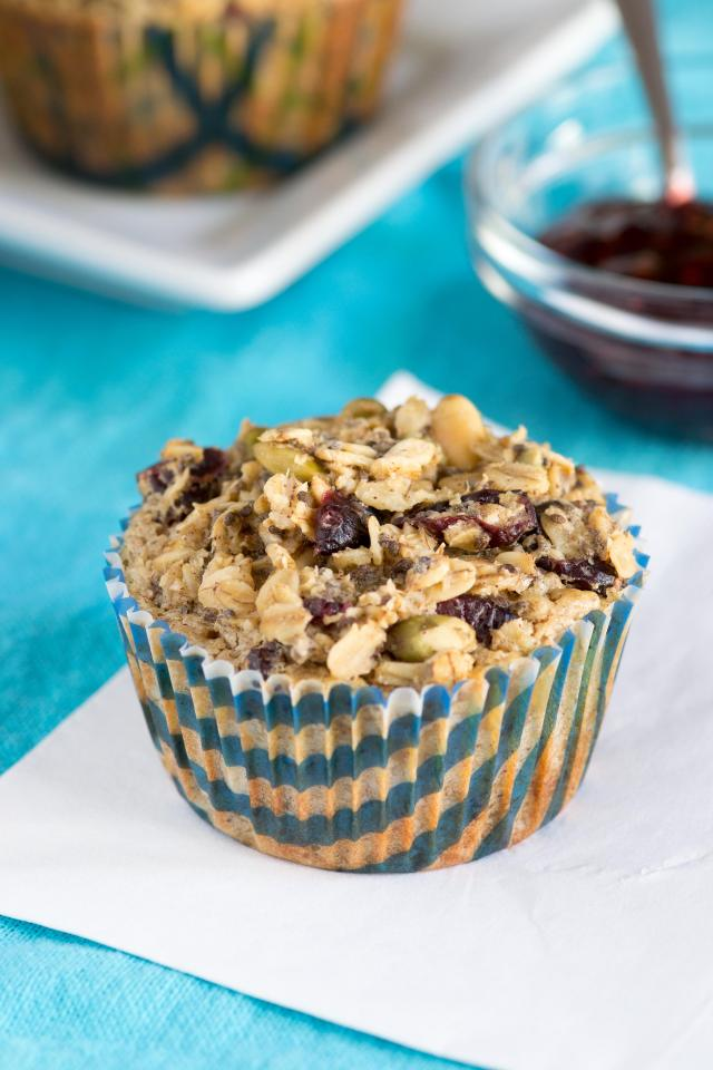 Cranberry Pepita Oatmeal Cups - A delicious and nutritious alternative to muffins with only 2 grams of sugar per serving! Gluten-free too. | QueenofMyKitchen.com