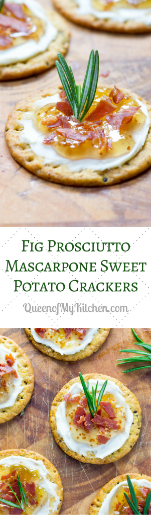Fig Prosciutto Mascarpone Sweet Potato Crackers – fig preserves, crispy prosciutto, and mascarpone cheese on sweet potato crackers. An easy and elegant appetizer recipe bursting with sweet, salty, and savory flavors. #AD | QueenofMyKitchen.com