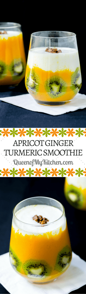 Apricot Ginger Turmeric Smoothie - #AD. A beautiful, nutrituous smoothie you can make in 5 minutes with canned fruit. Super convenient and incredibly delicious. | QueenofMyKitchen.com