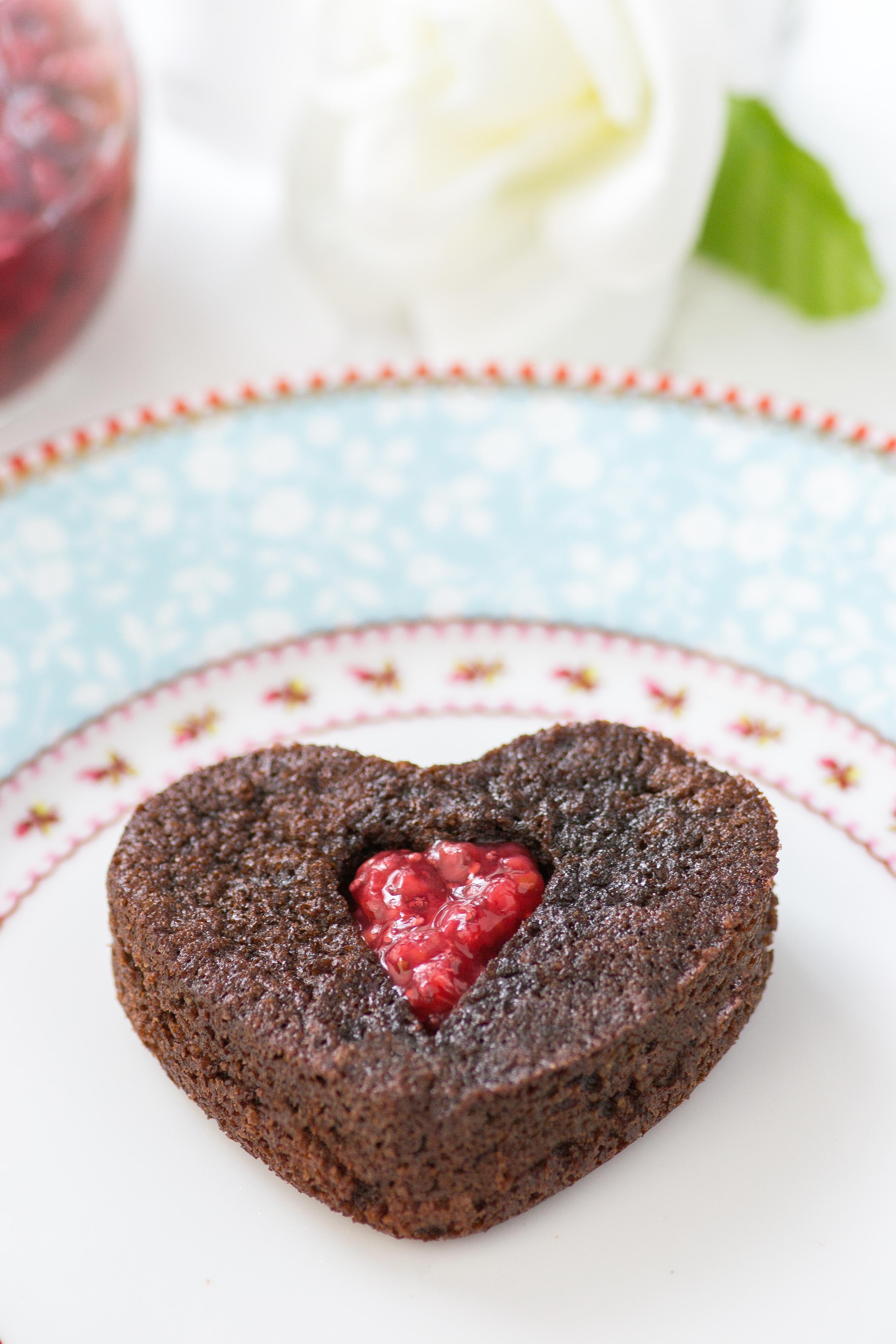 Mini Chocolate Avocado Oil Valentine Cakes with Raspberry Chia