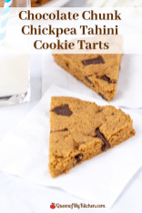 Chocolate Chunk Chickpea Tahini Cookie Tarts - A clean-eating twist on classic chocolate chip cookies made with gluten-free chickpea flour. | QueenofMyKitchen.com | #glutenfree #cookie #cookies #glutenfreetreat #glutenfreetreats #tahini #chocolatechipcookie #chocolatechipcookies