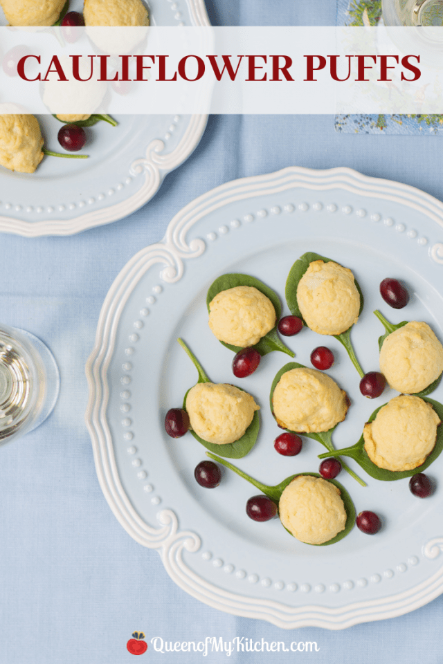 Cauliflower Puffs - A healthy, low-calorie hors d'oeuvre with subtle sweet and savory flavor. These melt-in-your-mouth nibbles clock in at only 20 calories each! | QueenofMyKitchen.com | #appetizer #horsoeuvre #appetizers #partyappetizers #cauliflower #cauliflowerrecipe #cauliflowerrecipes #healthyappetizer #healthyappetizers