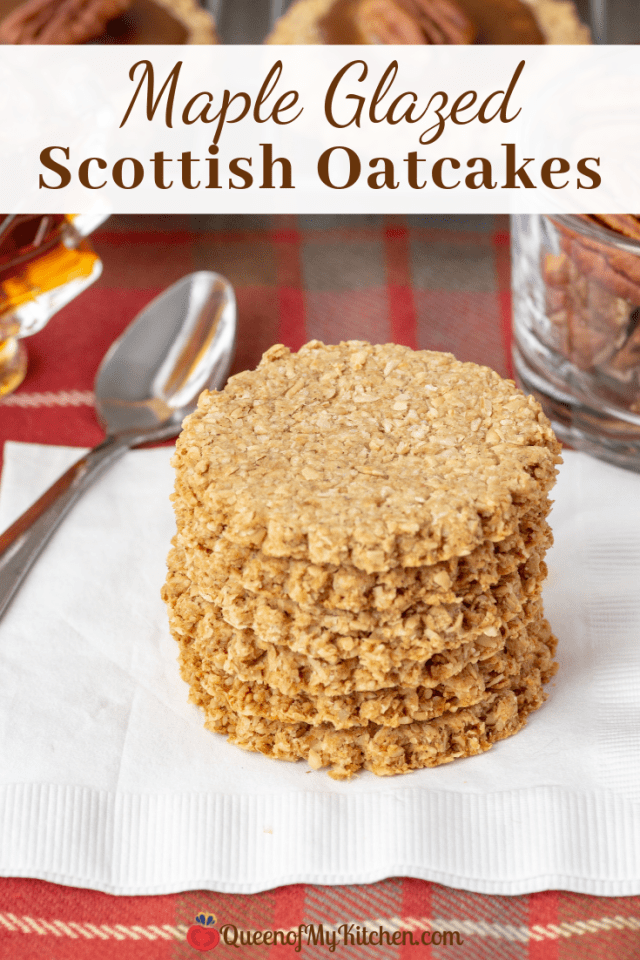 Maple Glazed Scottish Oatcakes - This remake of traditional Scottish oatcakes results in a not-too-sweet-cookie with rustic whole grain texture and rich maple flavor. Perfect with a cup of tea or coffee. | QueenofMyKitchen.com | #oatcakes #oatmeal #maplesyrup #Scottish #Scottishoatcake #scottishoatcakes #wholegraincookie #wholegraincookies