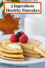 3 Ingredient Healthy Pancakes - Hearty, healthy, protein packed pancakes you can whip up in just a few minutes with only 3 ingredients. Gluten-free too. | QueenofMyKitchen.com | #pancakes #breakfast #healthybreakfast #healthypancakes #3ingredients #glutenfreebreakfast