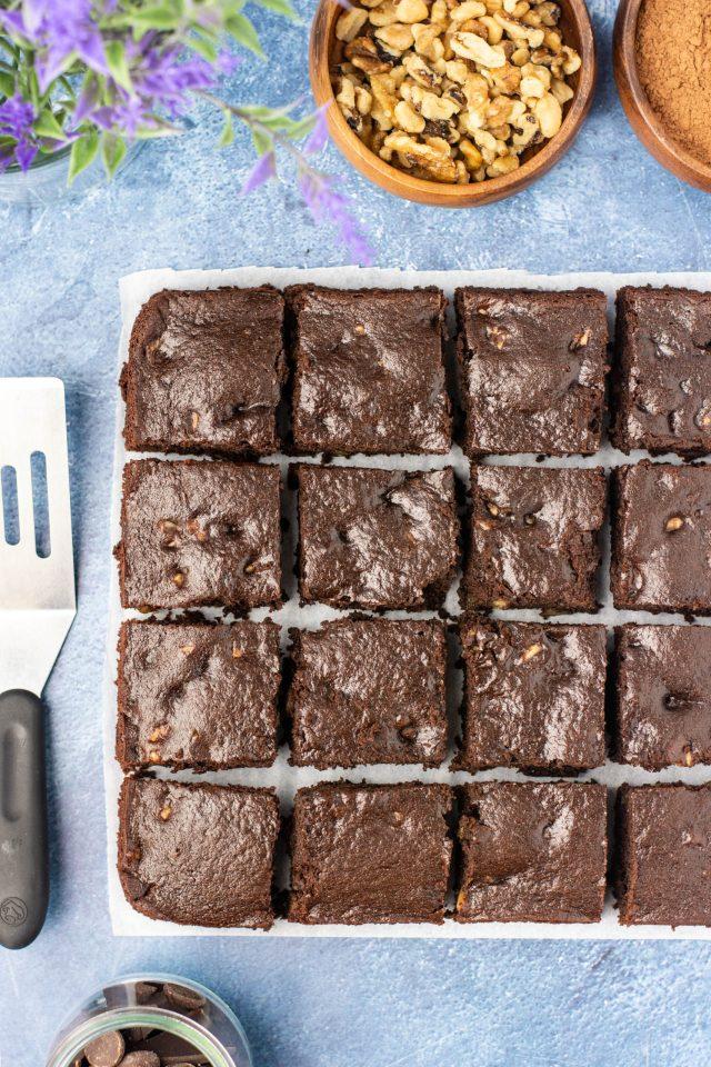 Cassava Greek Yogurt Brownies - Gluten-free brownies with a cake-like texture and rich chocolate flavor. Made with grain-free cassava flour. | QueenofMyKitchen.com | #brownies #glutenfree #grainfree #healthybaking #cassavaflour