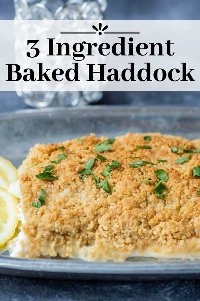 3 Ingredient Baked Haddock – A classic New England dinner made with just three ingredients. As easy as it is delicious. Perfect for busy weeknights. | QueenofMyKitchen.com | #fish #easydinner #3ingredients #bakedhaddock #fishdinner