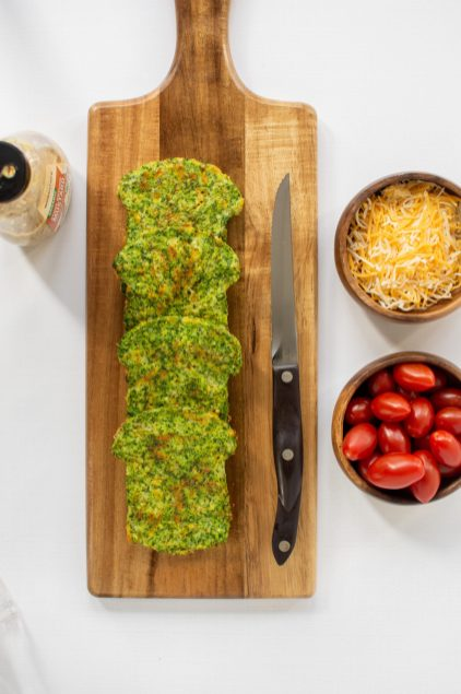 3 Ingredient Broccoli Bread – A simple recipe for bread made from vegetables. Each slice contains the equivalent of 4 ounces of broccoli. Low-carb, keto, gluten-free, grain-free. | QueenofMyKitchen.com | #ketobread #lowcarbbread #broccoli #grainfreebread