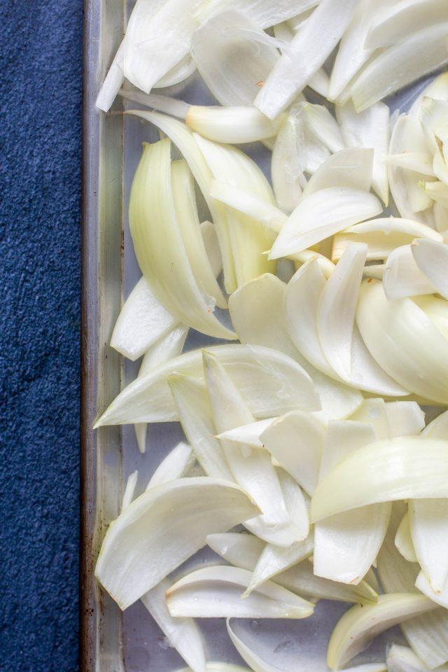 Onion layers on baking sheet