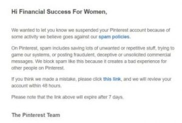Pinterest suspension email