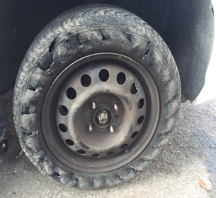 My tire after encountering the Van Wyck