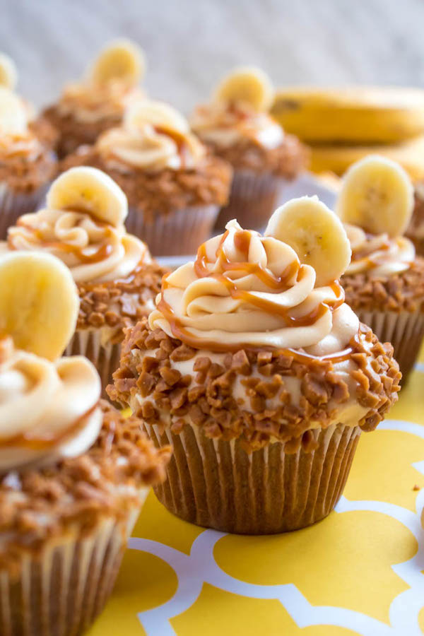 Banana Caramel Cupcakes With Caramel Cream Cheese Frosting Recipe