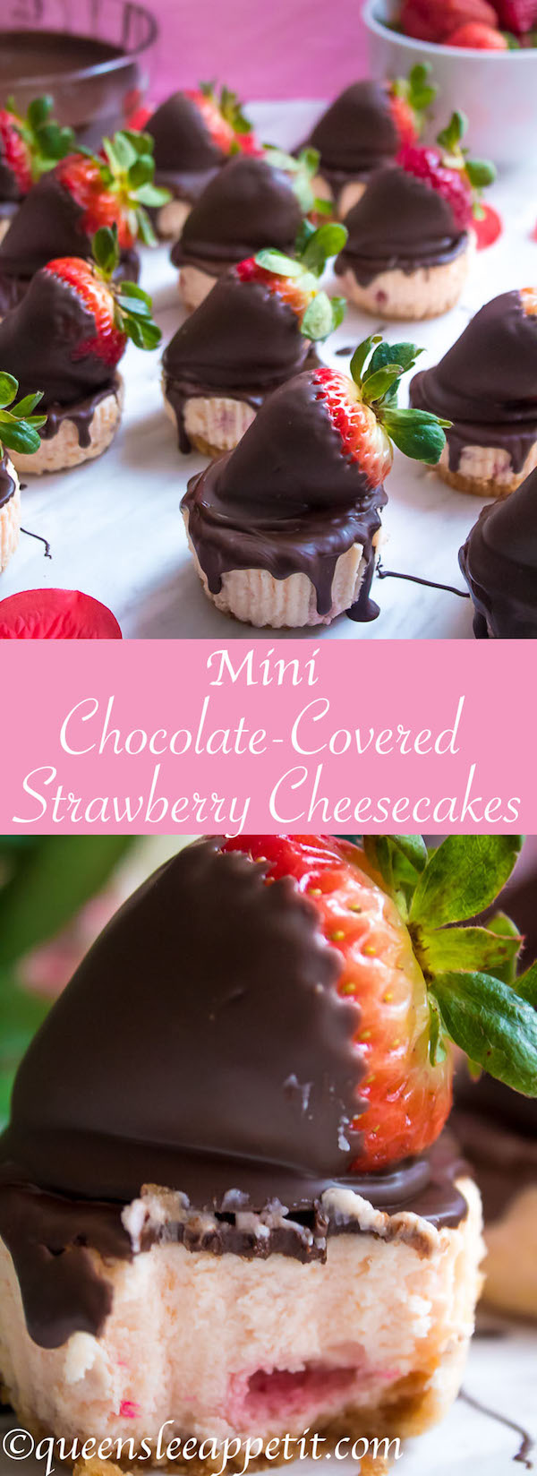 These Mini Chocolate Covered Strawberry Cheesecakes are made with a creamy bite-sized strawberry cheesecake and juicy chocolate covered strawberries. These are the perfect treats to finish off a romantic Valentine's Day dinner!