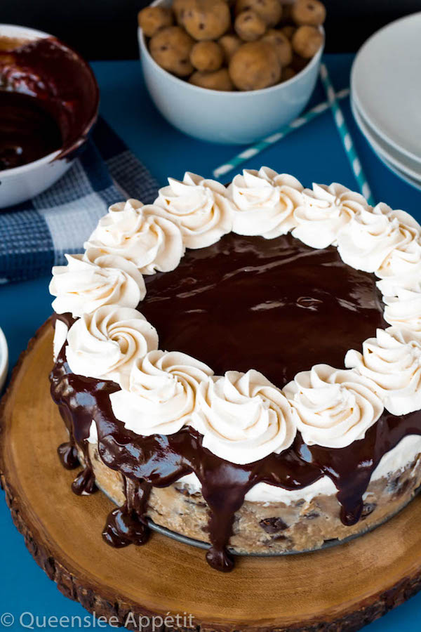 Chocolate Chip Cookie Dough Ice Cream Cake Vanilla Mixed With Chips And