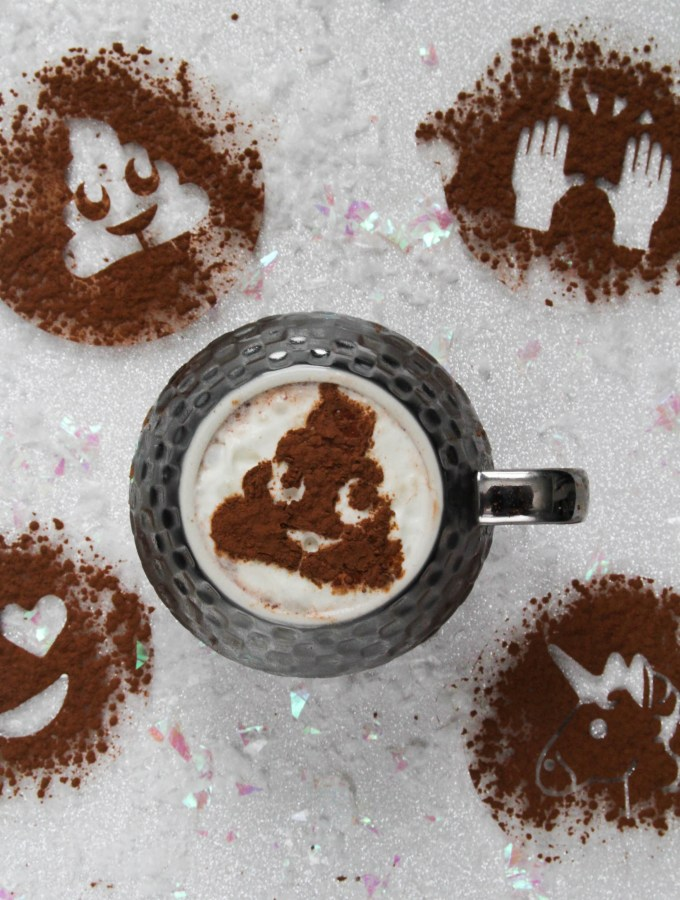 DIY EMOJI STENCILS FOR HOT DRINKS & YUMMY DESSERTS