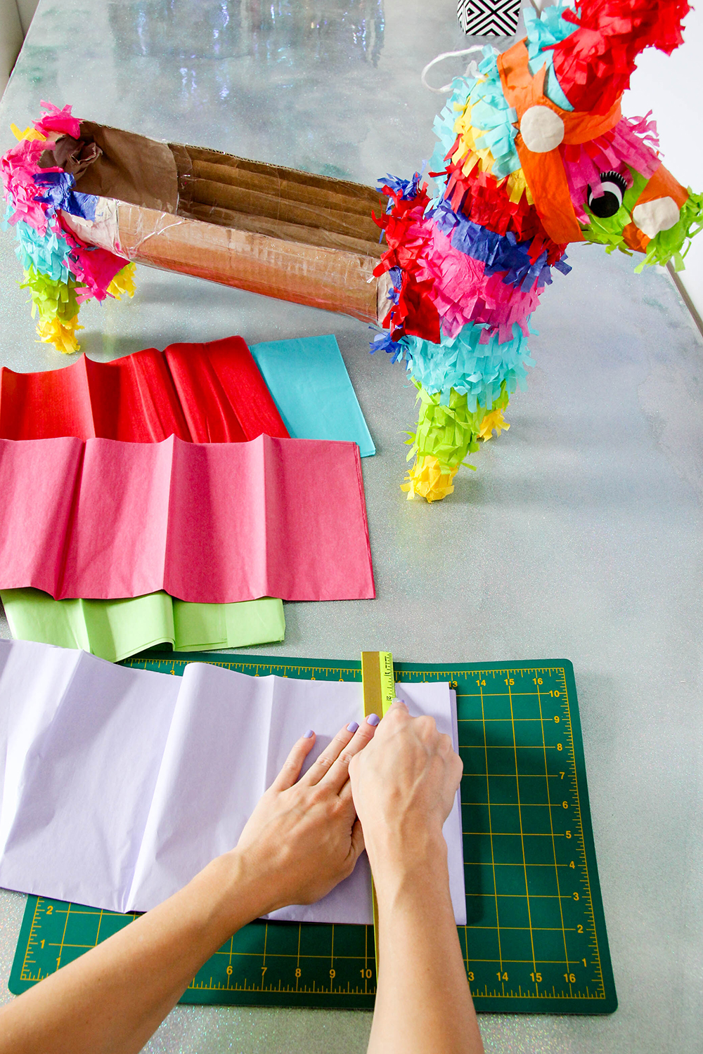 Pinata bar - cut tissue strips