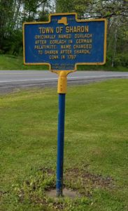 Historical road markers give history of the Sharon Springs NY community.