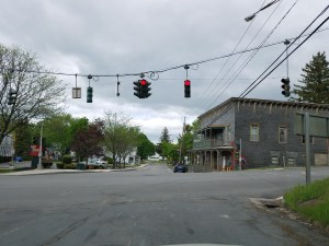 Route 20 features small town intersections like this one in Sharon Springs NY.