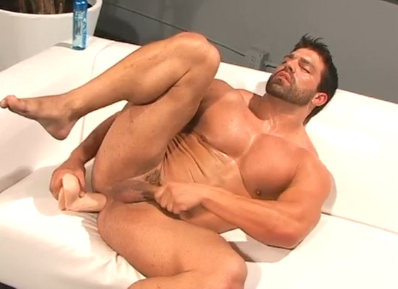 Hot House exclusive gay porn star bodybuilder Vince Ferelli fucks his muscle ass with big dildo
