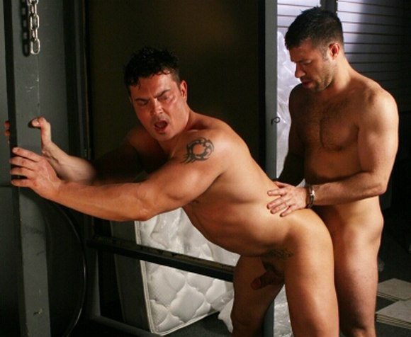 gay porn star Rob Romoni getting fucked by Tristan Jaxx in Bad Cops by Massive Studio