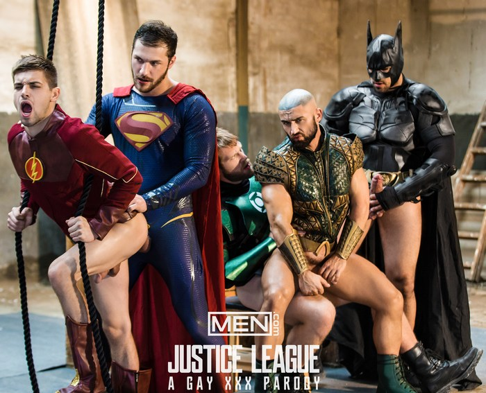 Justice League Gay Porn Orgy Parody Superman Batman Flash Aquaman Green Lantern Sex