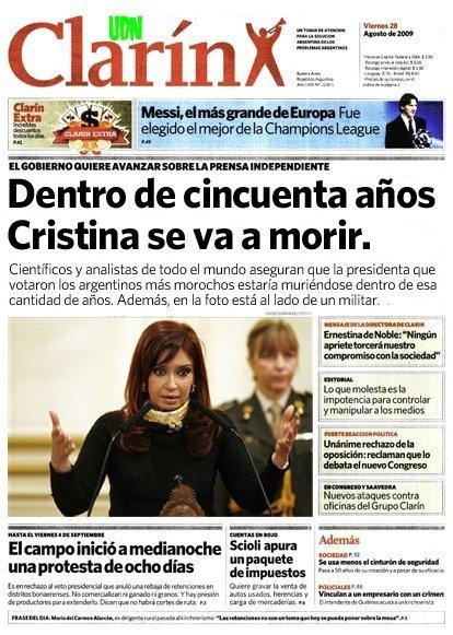Cristina Kirchner va a morir - Tapas de Clarin