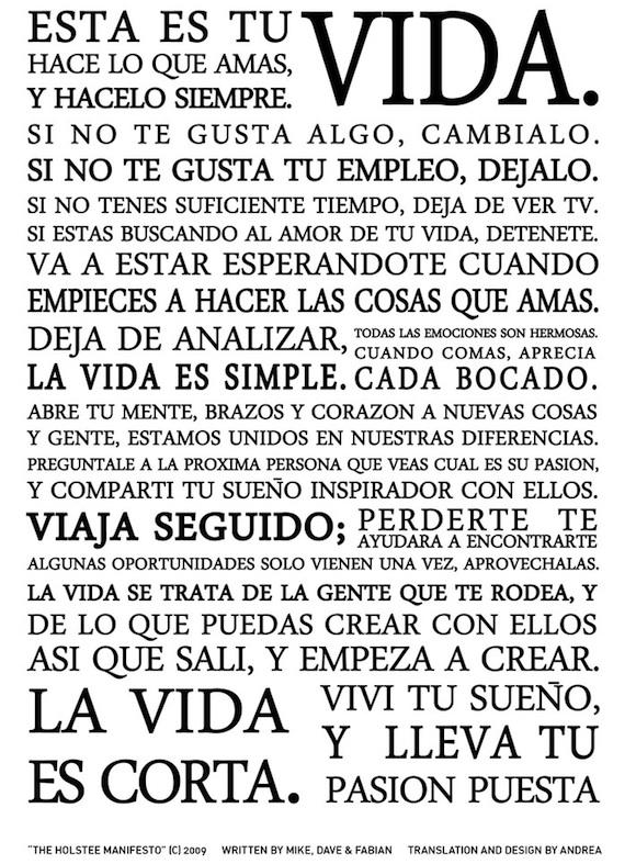The Holstee Manifesto en español