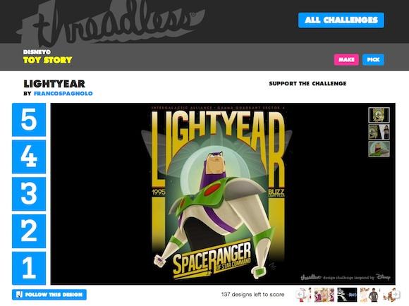 Votar a Buzz Lightyear en Threadless
