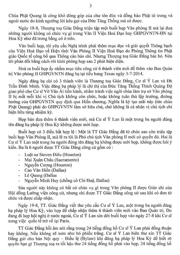 Thông Bạch của Hoà thượng Phó Chủ tịch Văn Phòng II Viện Hoá Đạo về những hành xử bất minh của Thượng toạ Thích Giác Đẳng và âm mưu dung Đại hội tháng 10 tại San Jose để chống phá GHPGVNTN và Đức Tăng Thống Thích Quảng Độ - 3/6