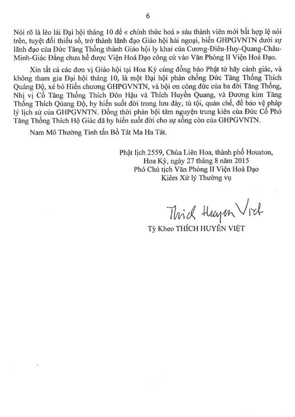 Thông Bạch của Hoà thượng Phó Chủ tịch Văn Phòng II Viện Hoá Đạo về những hành xử bất minh của Thượng toạ Thích Giác Đẳng và âm mưu dung Đại hội tháng 10 tại San Jose để chống phá GHPGVNTN và Đức Tăng Thống Thích Quảng Độ - 6/6