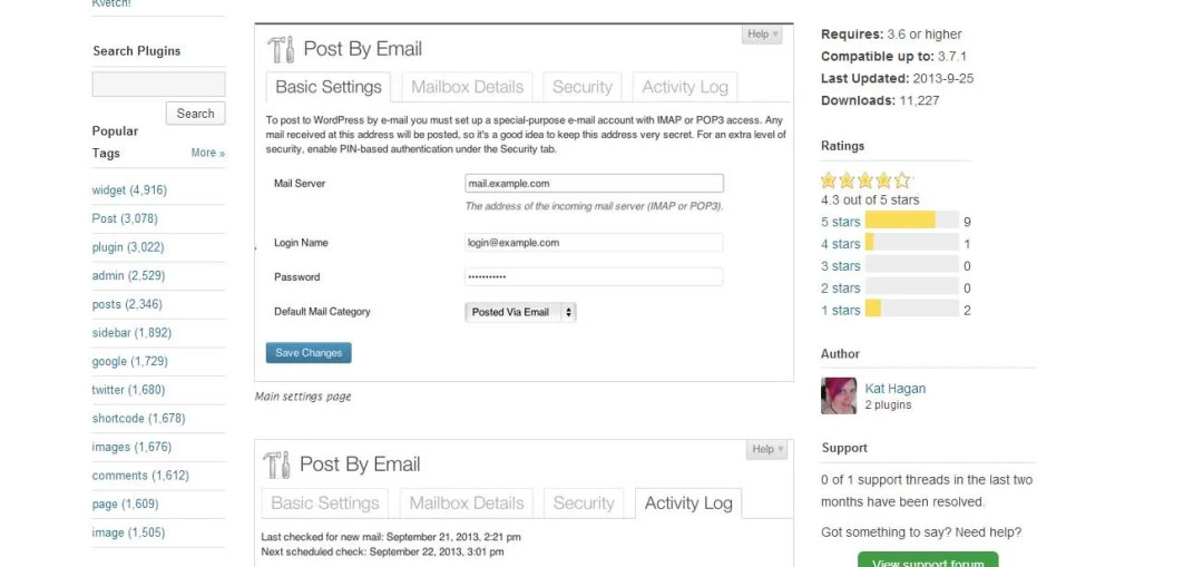 publicar una entrada por correo con el plugin Post by mail