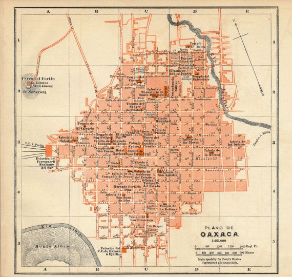 antique map oaxaca