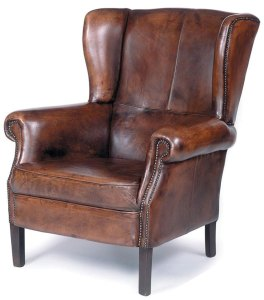 Lether wingback library chair