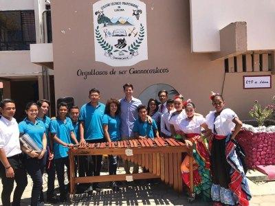 President Solis with school children & marimba