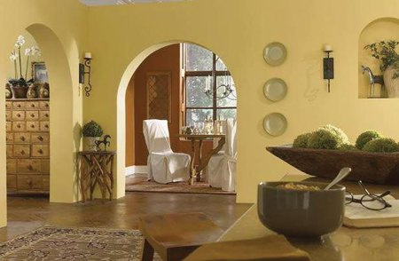Room with yellow wall