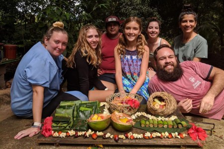 Karma and volunteers having a picnic
