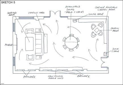 Sketched floor plan
