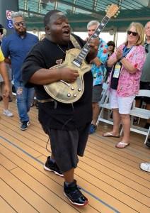 Musician wandering on deck