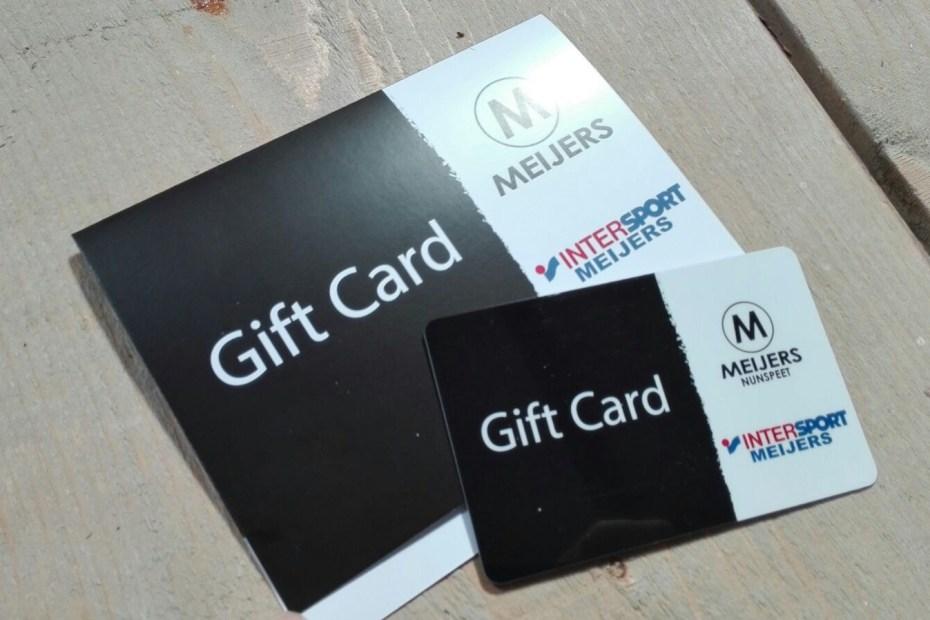 Een giftcard geleverd aan Meijers Intersport Nunspeet
