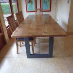 Live Edge Oak Table with Metal Base