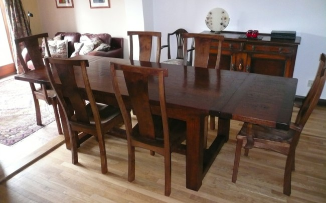 Handmade Extending Oak Refectory Table Fully Extended