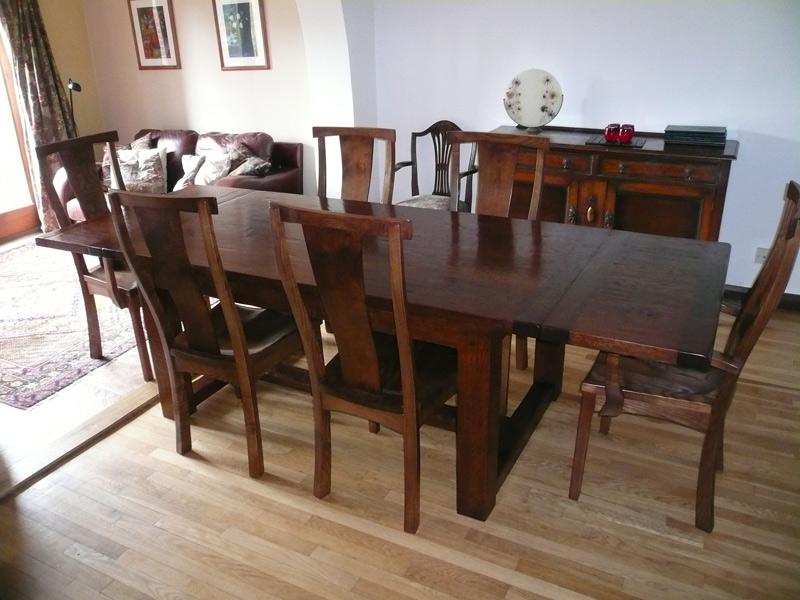 Handmade Extending Oak Refectory Table Fully Extended