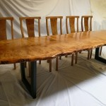 Pippy Oak Slab Table With Metal Base chairs