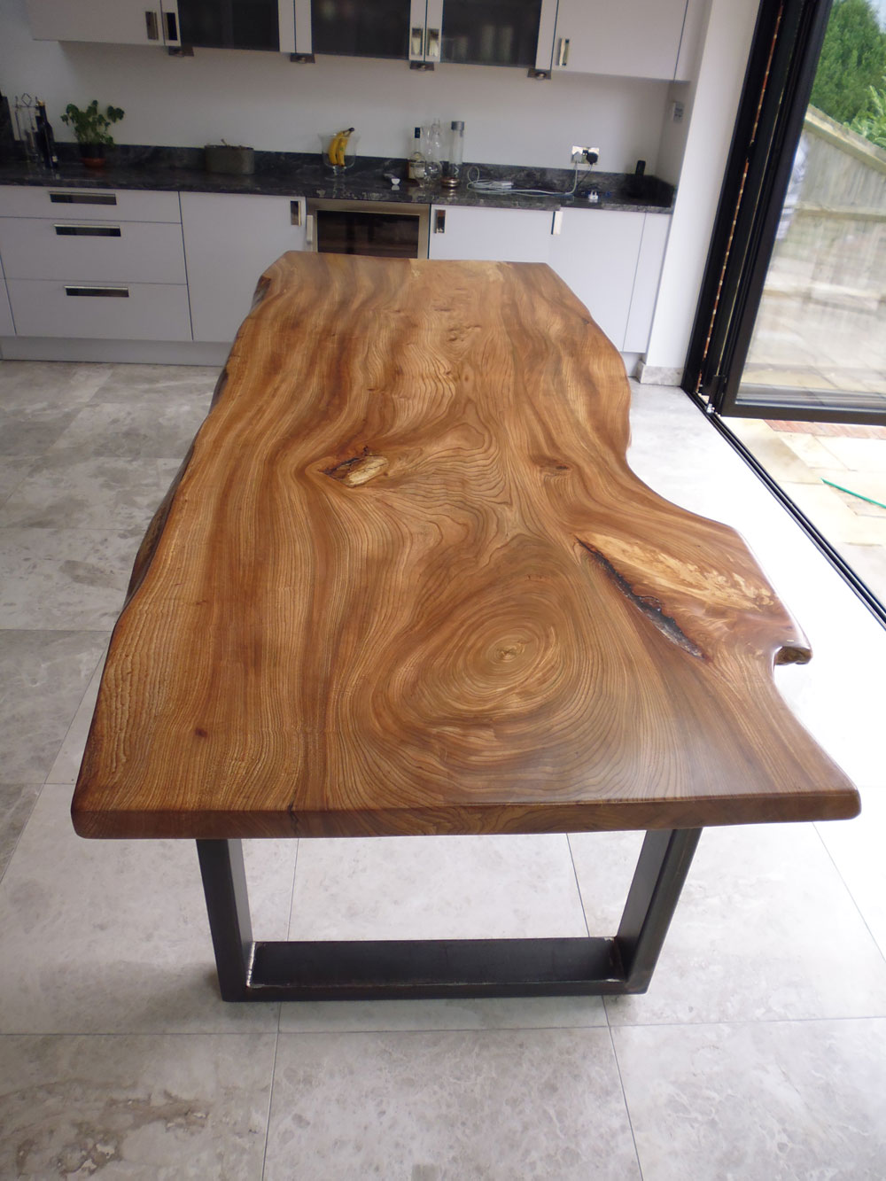 English Elm Waney Edge Dining Table