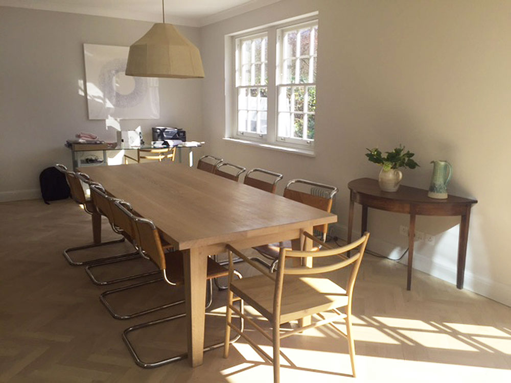 Bespoke Handmade Contemporary Oak Dining Table and Bench