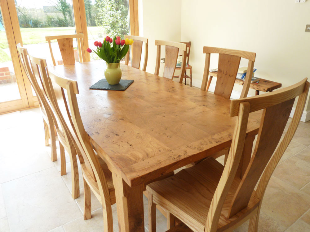 Large Handmade Extending Refectory Table and Chairs in Pippy Oak