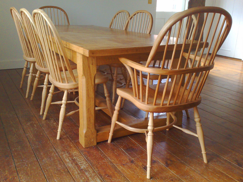 Handmade Refectory Table with Stop-Chamfered Legs & H Stretchers